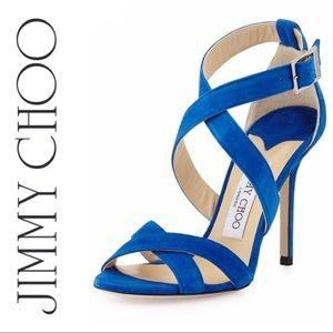 Jimmy Choo Lottie Blue Suede Sandals Sz 37